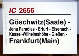 Zugtafel von IC 2656