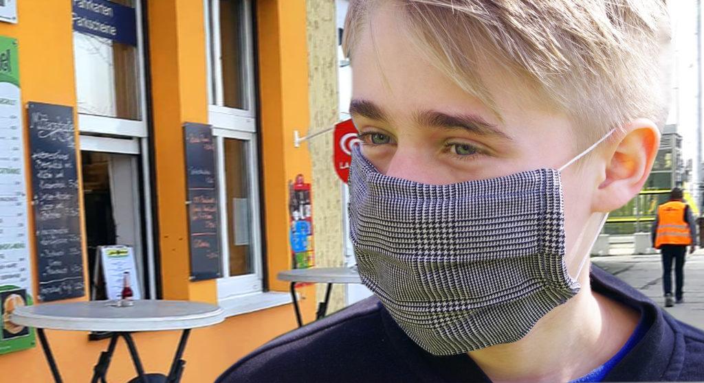 Der Mund-Nasen-Schutz vom Bahnhof Jena-Göschwitz.