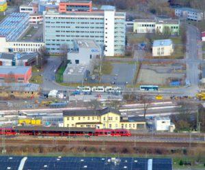 Blick auf den Bahnhof Jena-Göschwitz.